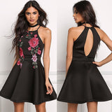Floral Summer Low Back Halter Mini Dress - musthavesexy