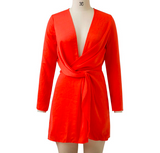 Tie the Knot Long Sleeve V Neck Twist Knot Mini Dress - musthavesexy