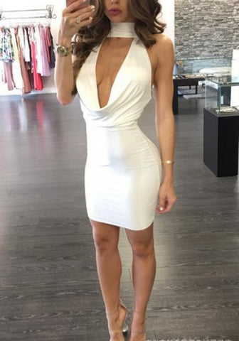 White Plain Tie Back Backless Mini Dress - musthavesexy