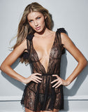 2 Piece Black Lace Deep-V Front and Back Babydoll - musthavesexy