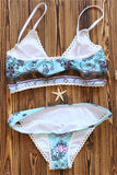 Gypsy Bohemian Floral Print Lace Decor Two Piece Swimsuit - musthavesexy