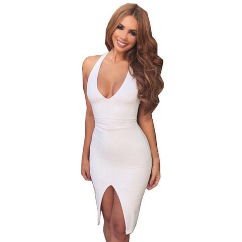 Women V-neck Slim Bodycon Sleeveless White Dress - musthavesexy