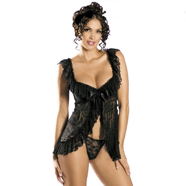 2 Piece French Lace Babydoll with Ruffled Lace Trim and Centre Ribbon Bow PLUS - musthavesexy