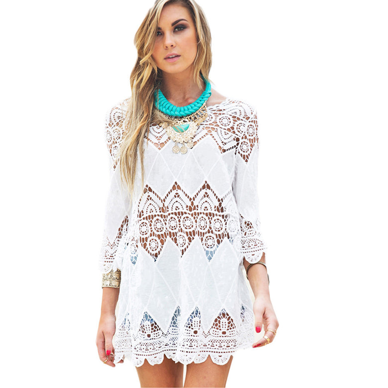 Beachwear Mini White Lace Dress - musthavesexy