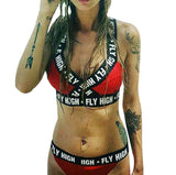 Fly High Letter Printing Swimsuit With Padded  Push Up Bikini Set - Sexy Rebellion - musthavesexy