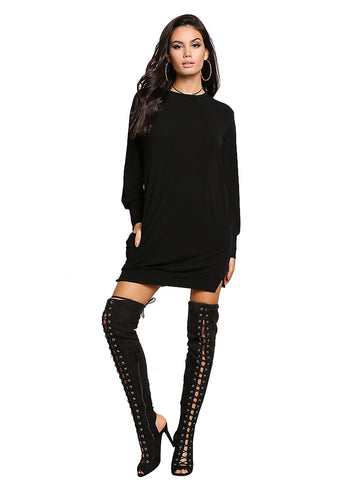 Pullover Sweater Dress - Black or Red - musthavesexy
