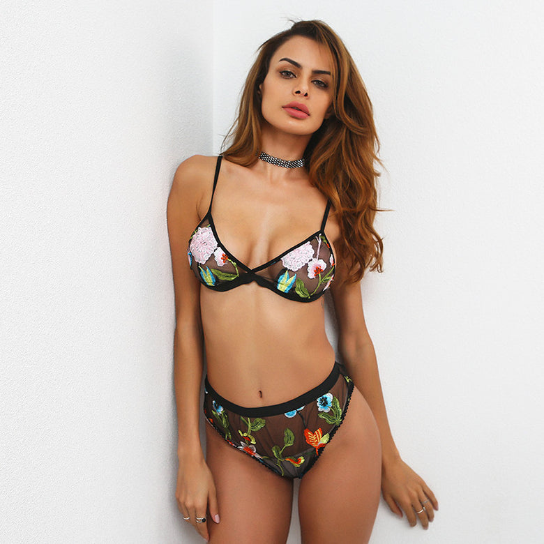 See Through Floral Lingerie Set - musthavesexy