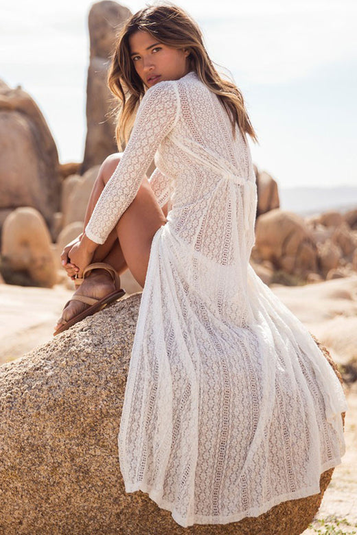 Sexy Women's Boho Lace Beach Long Cardigan Ankle Length Dress - musthavesexy