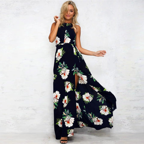 Black Floral Cutout Back Halter Split Maxi Boho Dress - musthavesexy