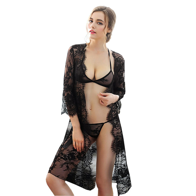 3 Piece Black Lace Trim Robe Temptation - musthavesexy
