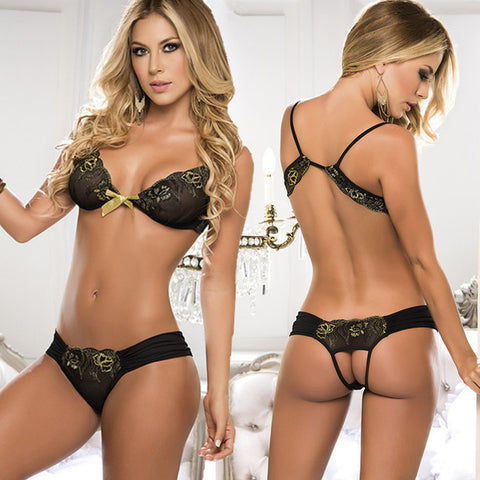 2 Piece Sexy Seductive Set with Embroidered Floral Pretty Bow Detail - Black, Red - musthavesexy