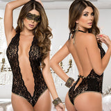 Low Cut Lace Teddy With Gold Trim with Mask - musthavesexy