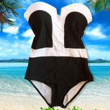 Black & White Monokini V-Neck Strapless One Piece Swimsuit - musthavesexy