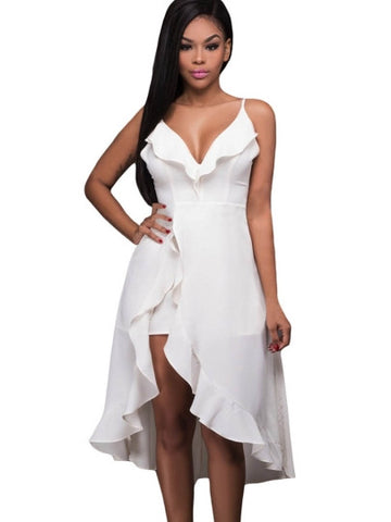 White Ruffle High-low Romper Dress - musthavesexy