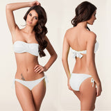 Two Piece Strapless Side Tie Bikini Swimsuit in 4 Colors - musthavesexy