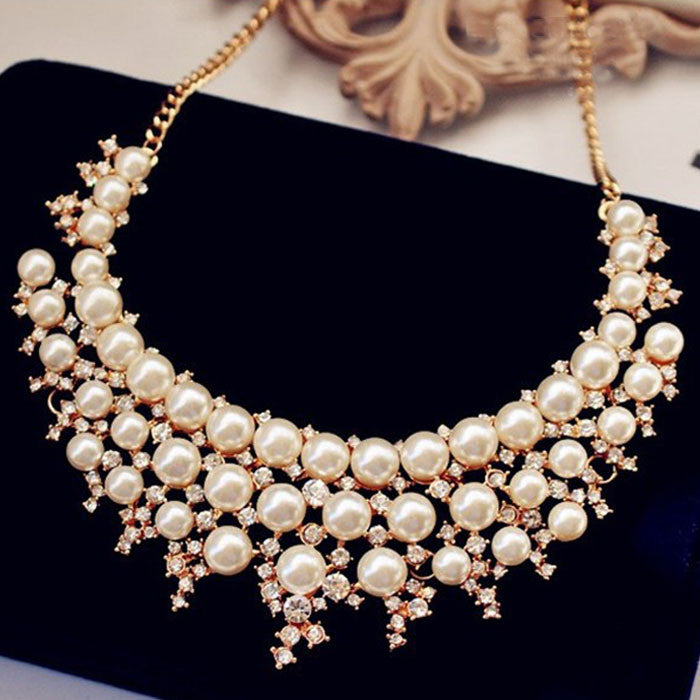 Fashion Pearl Crystal Rhinestone Statement Necklace - musthavesexy