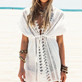 White Lace Mini Cover-up Swimwear - musthavesexy