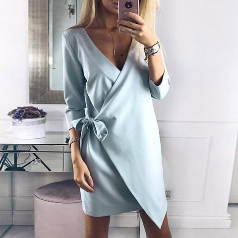 Crossed Front V-neck Self-tie Mini Dress - musthavesexy