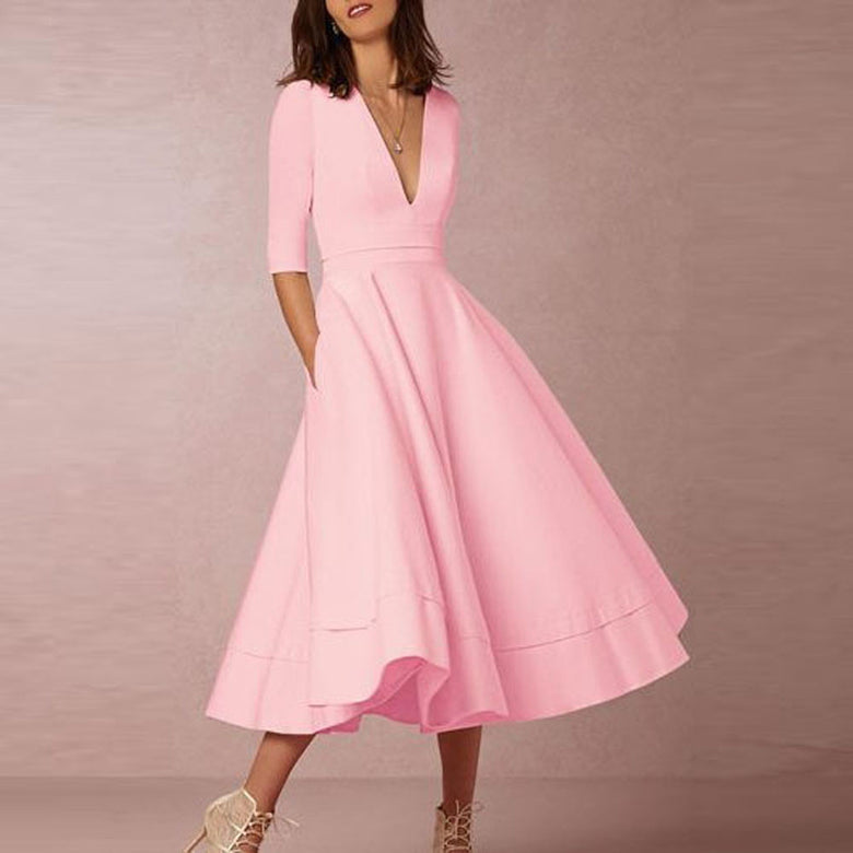 Deep V Neck Half Sleeves Swing Dress - musthavesexy