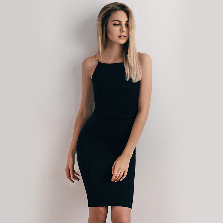 CHARMING BLACK Gold Finish MIDI DRESS - musthavesexy
