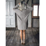 Vintage Knitted Straight Solid Dropped Long Sleeve Round Neck Women's Dress - musthavesexy