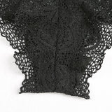 Black Lace Details Hollow See-through Sexy Lingerie Set - musthavesexy