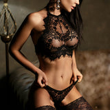 2 Piece Lace Flower Push-up Bra with Underwear - Black or White - musthavesexy