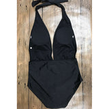 Sexy Black Bold Halter Strap Plunging V-neck High Waisted One Piece Swimsuit - musthavesexy