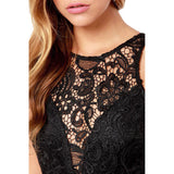 Sexy Black Drop V Back Lace Dress Black - musthavesexy