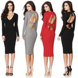 Lace Up Deep V Backless Bandage Party Dress - musthavesexy