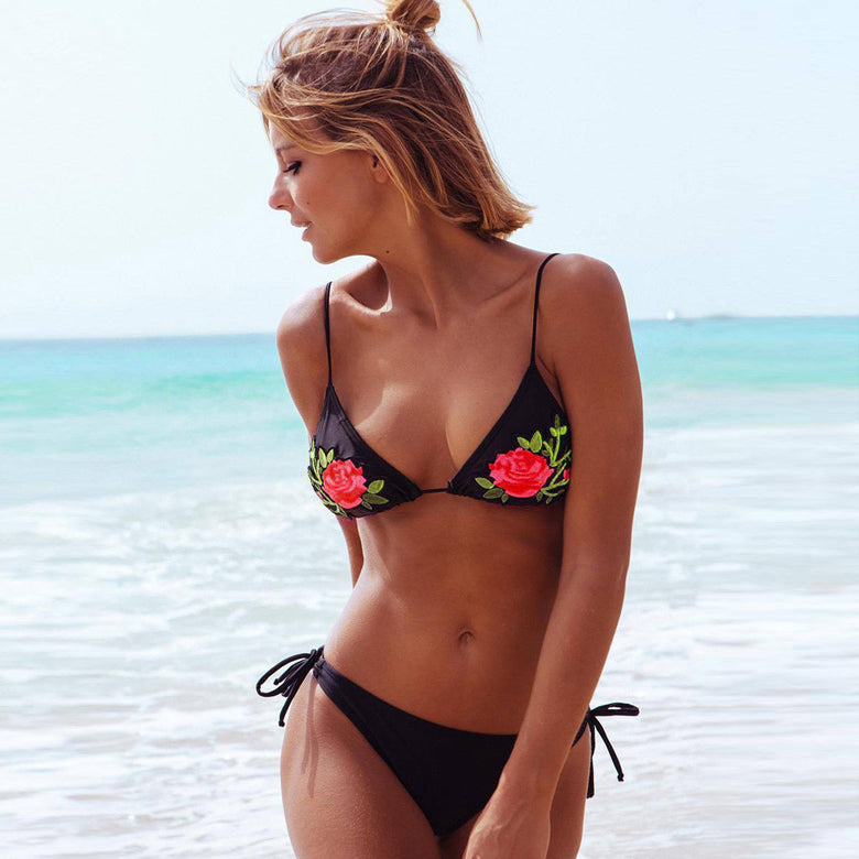 Rose Embroidered Halter Bikini Set - musthavesexy