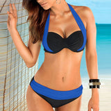 2 Piece Two Tone Halter Low Waist Swimsuit - musthavesexy