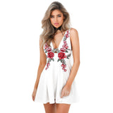 Deep V Floral  Embroidered Rose Cute Mini Dress - musthavesexy