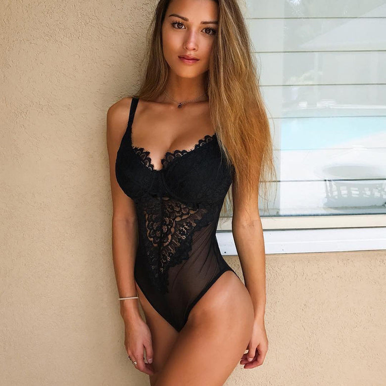 Black Mesh Lace Lingerie - musthavesexy