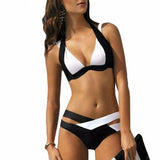 Two Tone Crossed Strap Bikini Swimsuit - musthavesexy