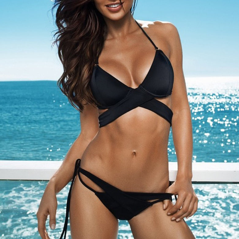 Black Halter Triangle Wrap Around Strappy Cutout Sexy Two Piece Bikini Swimsuit - musthavesexy