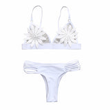 White Triangle Lace Crochet Mesh Bralette Strappy Cutout Sexy Cheeky Thong Two Piece Bikini Swimsuit - musthavesexy