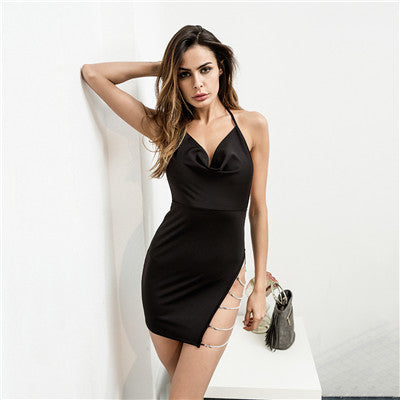 Sexy Halter V Neck Chained Thigh Mini Dress - musthavesexy