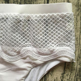 White Lace Details Halter Sleeveless High-waisted Swimwear - musthavesexy
