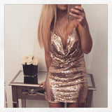 Deep V-neck Backless Glitter Dress - musthavesexy