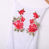 Black of White 'Rose' Embroidered Halter Bodysuit - musthavesexy
