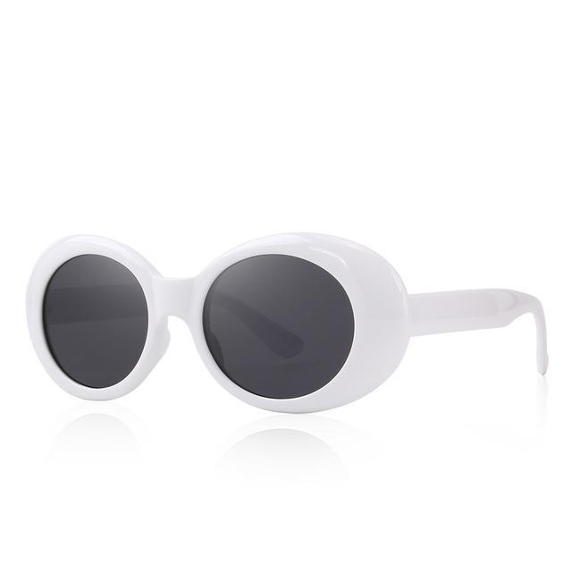 Large Retro Mod White Oval Sunglasses With Thick Frame Colored Lens Wide Arms - musthavesexy