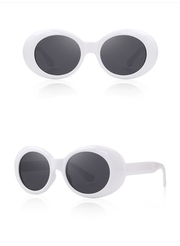 643ff62b42 Large Retro Mod White Oval Sunglasses With Thick Frame Colored Lens Wide  Arms - musthavesexy