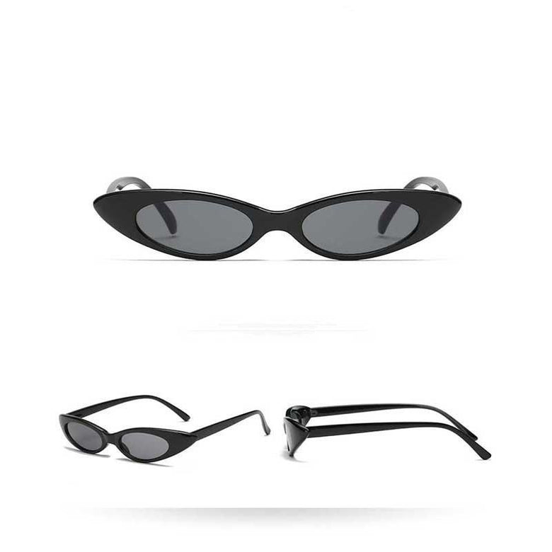 Extreme Thin Cat Eye Sunglasses Neutral Colored Flat - musthavesexy