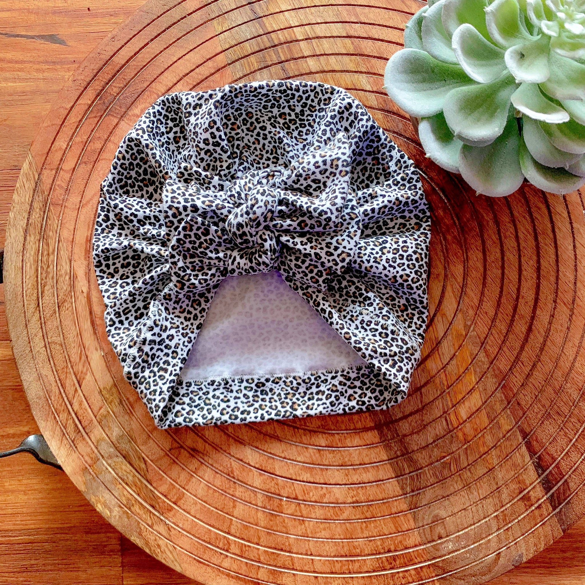Leopard Square Bow Turban