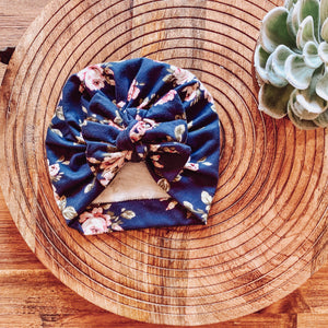 Navy Floral Square Bow Turban