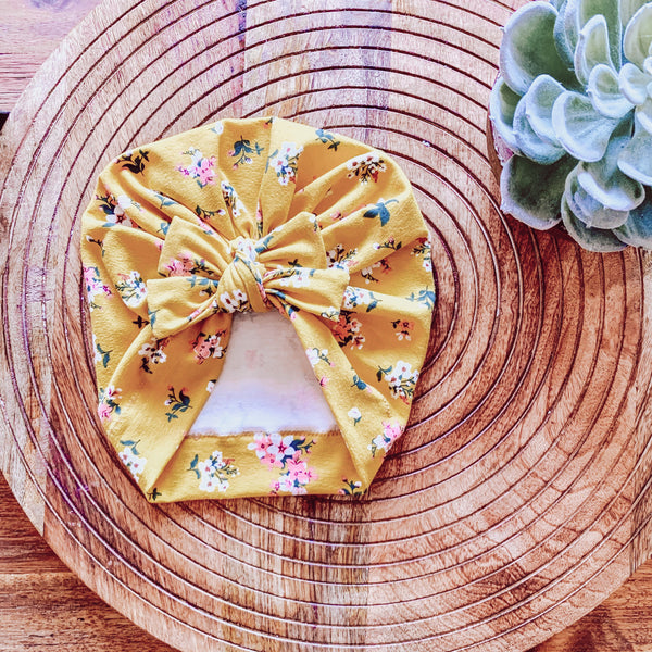 Yellow Posey Square Bow Turban