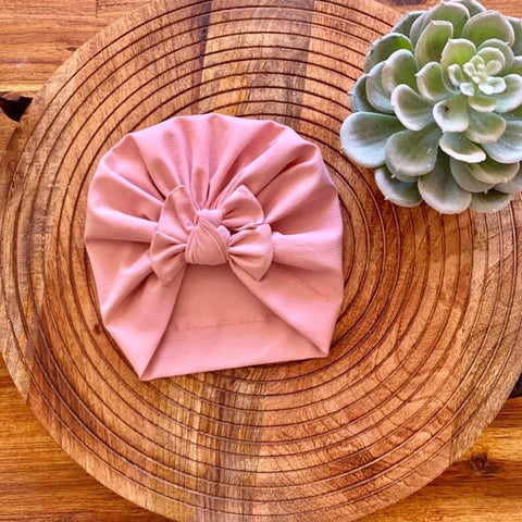 Blush Square Bow Turban