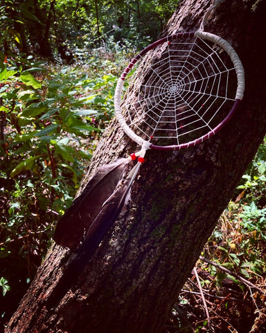 hand made dream catcher suspended from a tree branch