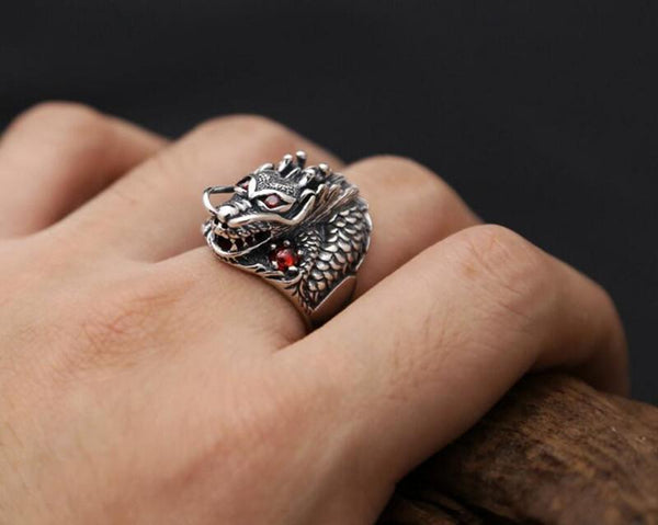 100% Real 925 Sterling Silver Ring Thai Silver Powerful Dragon for Men Ring Jewelry